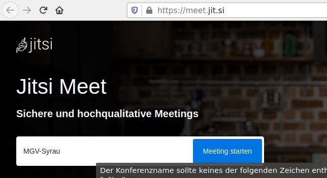 Webseite Jitsi Meet